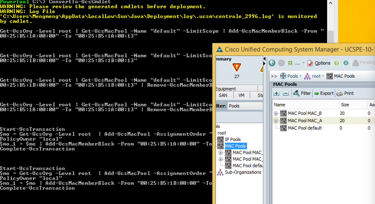 PowerShell to Automate Cisco UCSM (3): Convert UCSM GUI to Script